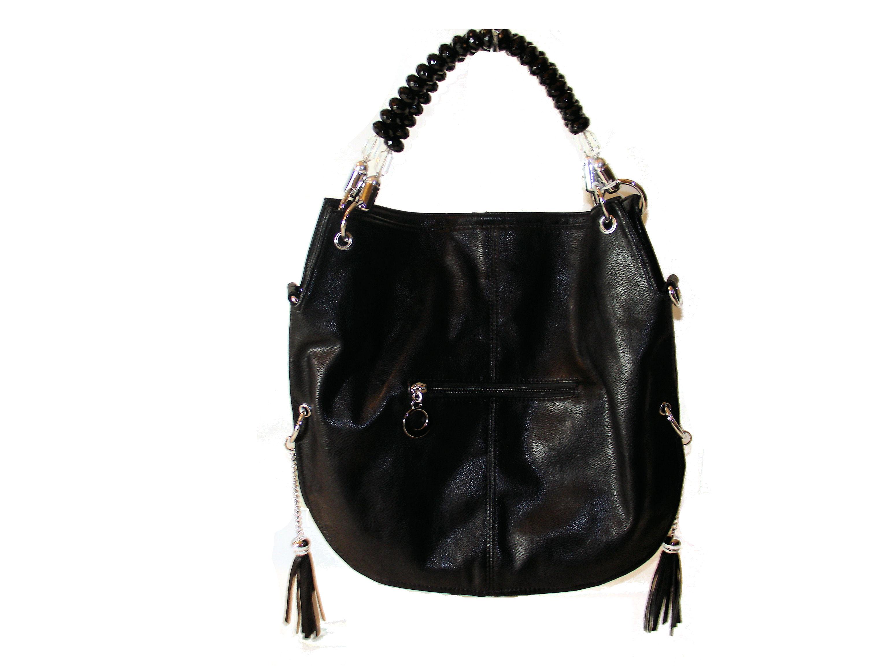 Purse Sonalities Crystal Beaded Handle Hobo Bag